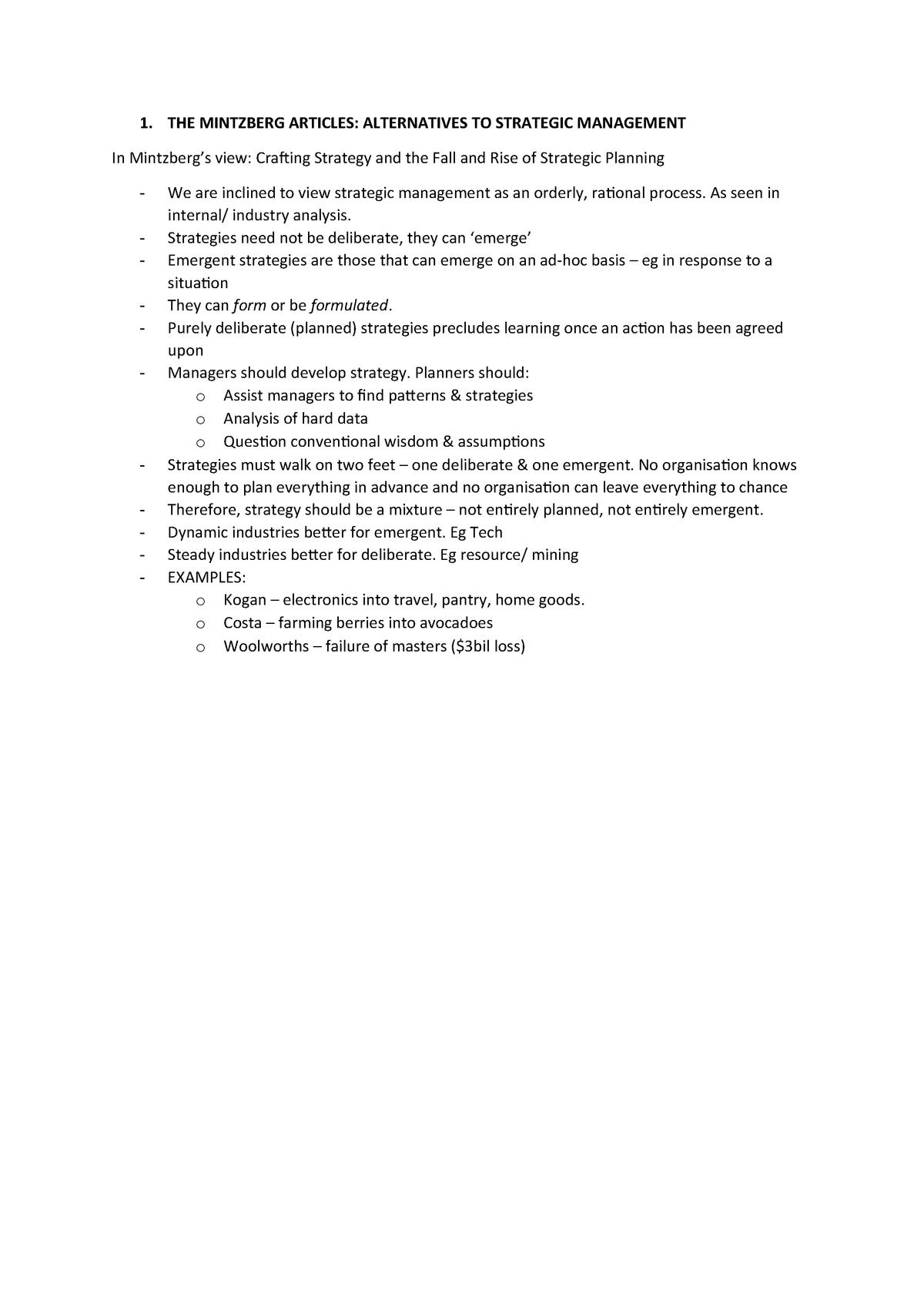 Exam 2016 - MM403: Strategic Planning and Management - StuDocu