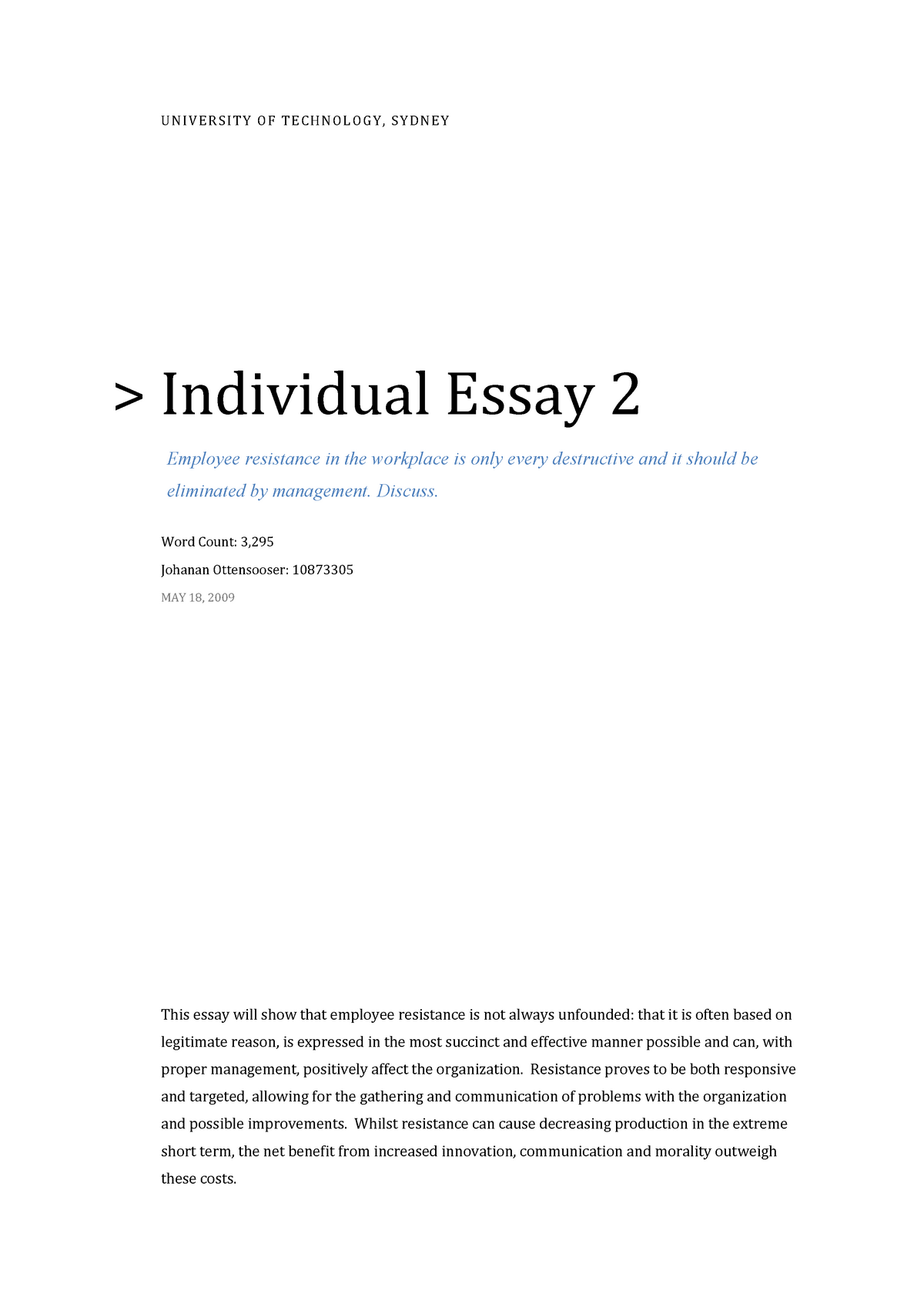 Where Is A Thesis Statement In An Essay  Sample Business Essay also Sample Essay English Managing People And Organisations Essay      Uts  Sample High School Essays