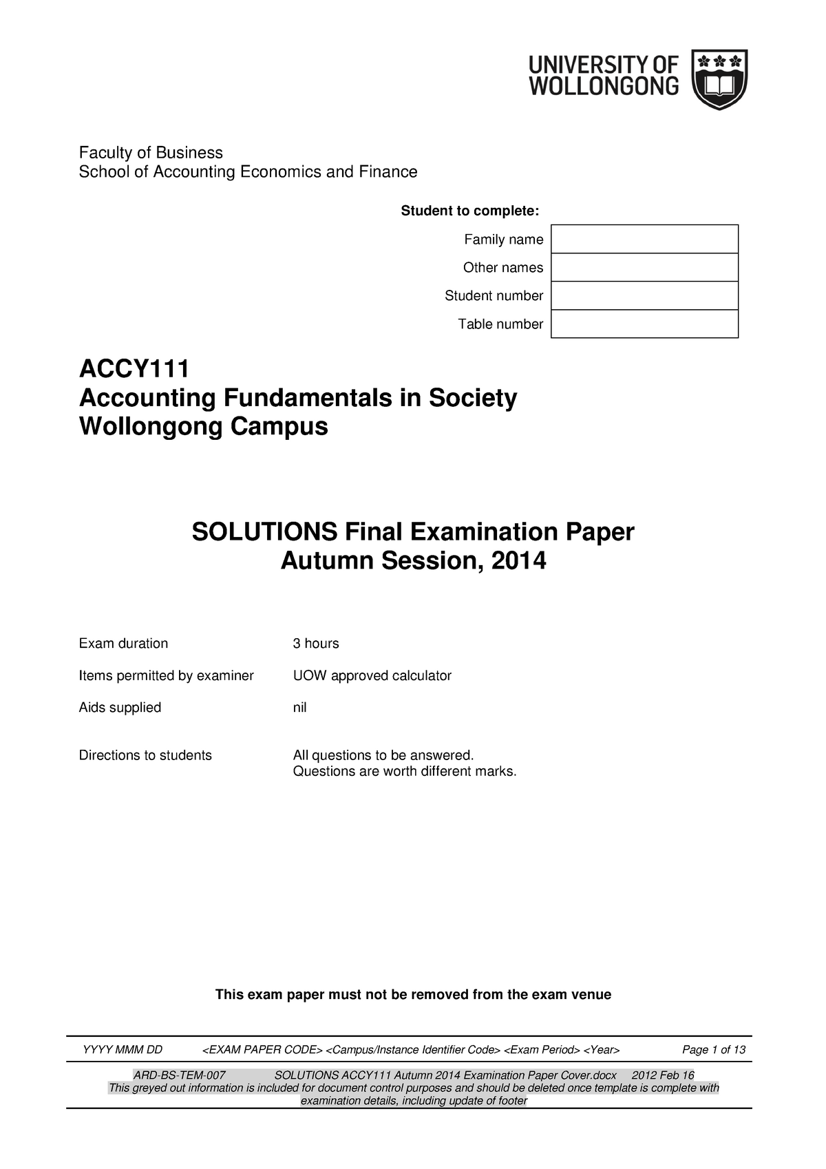 Exam 2014 - ACCY111: Accounting Fundamentals In Society - StuDocu