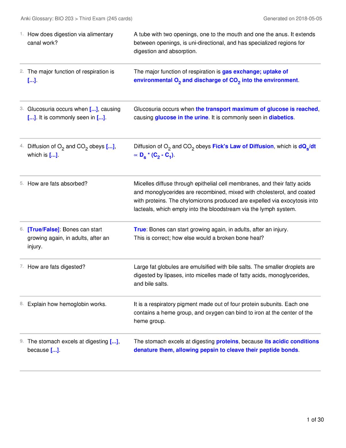 Bio 203 Third Exam Review Terms - BIO 203: Fundamentals of Biology