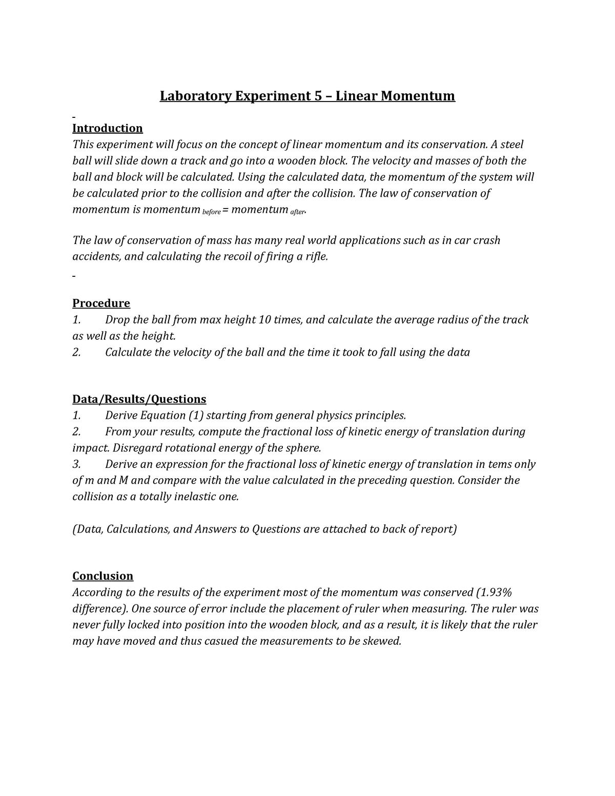 Lab 5 Linear Momentum - PHY 203 - CCNY - StuDocu