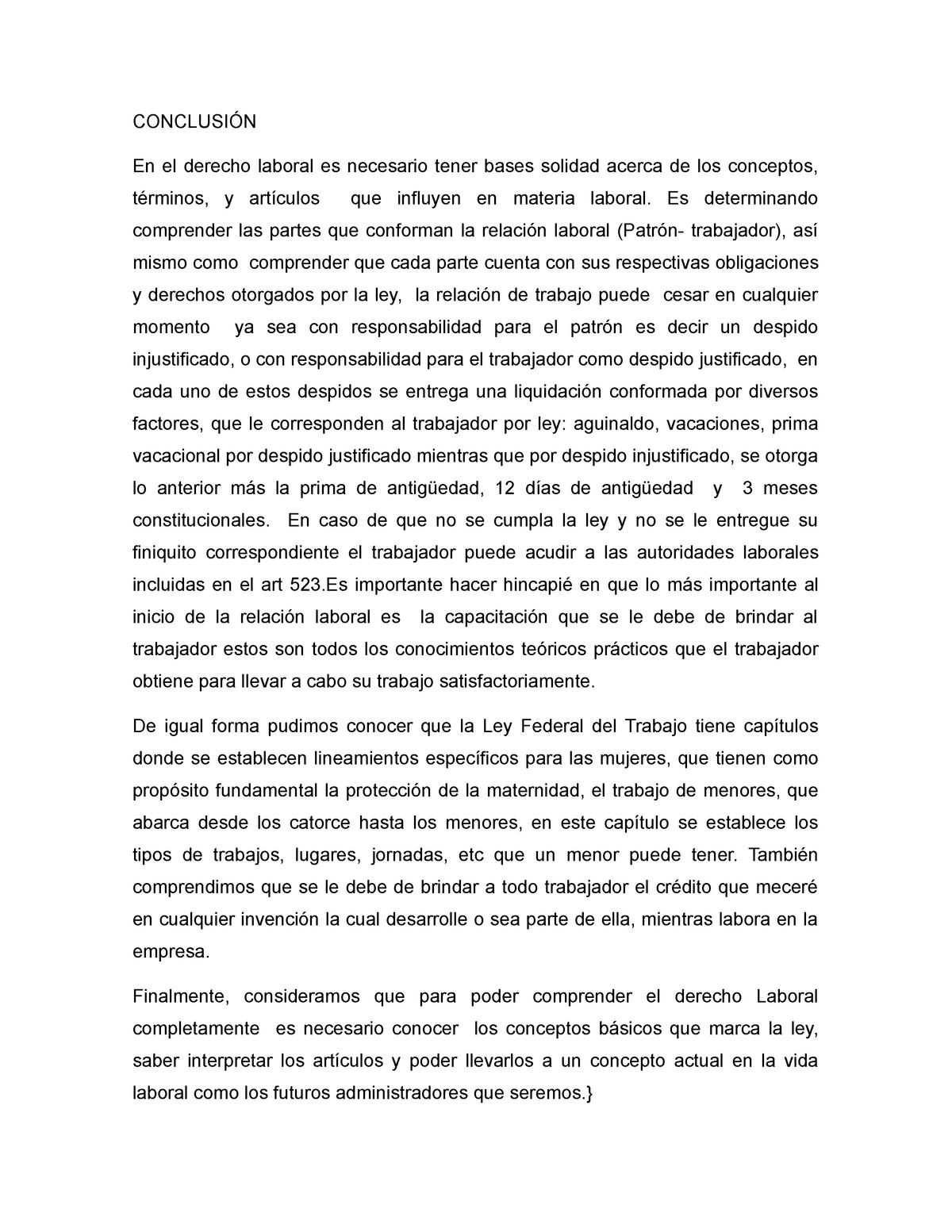 Conclusion Derecho Laboral 200 Uagro Studocu