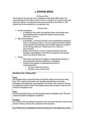 Summary Book Contract Law Dilan Thampapillai Vivi Tan Lecture