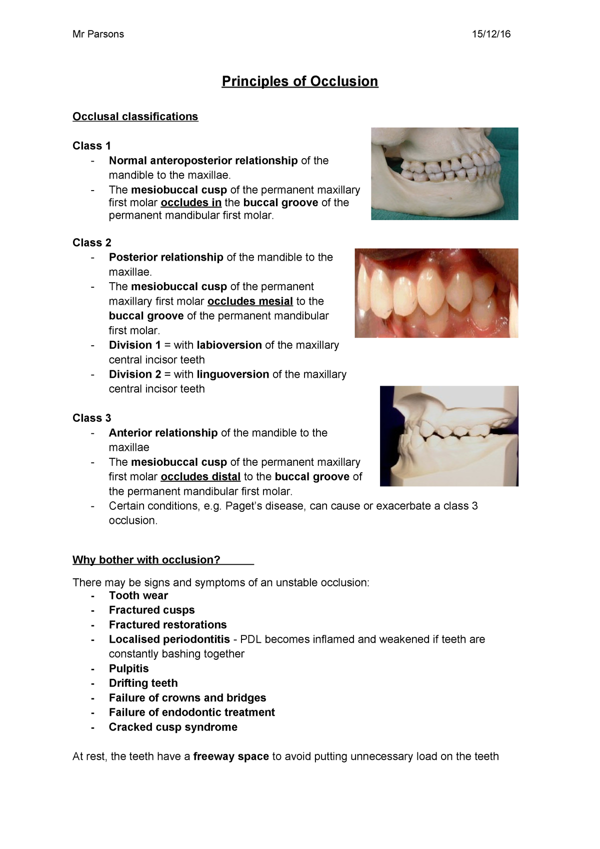 Principles of Occlusion - Basic Oral and Dental Care - StuDocu