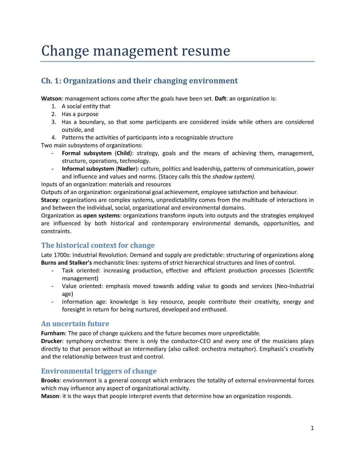 Summary Change And Human Factors Book Change Management Studocu