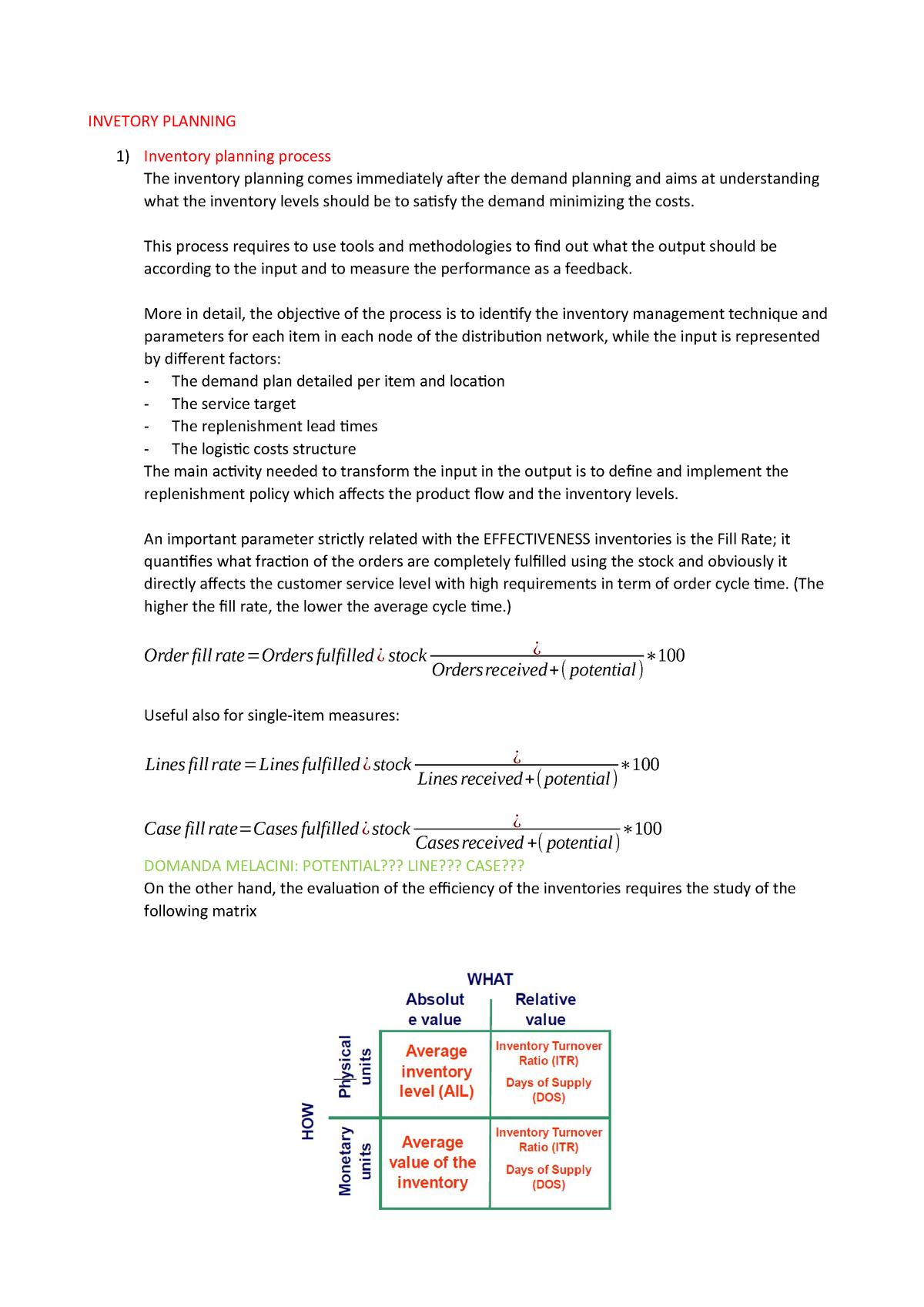 Inventory planning - Logistics management 96089 - StuDocu