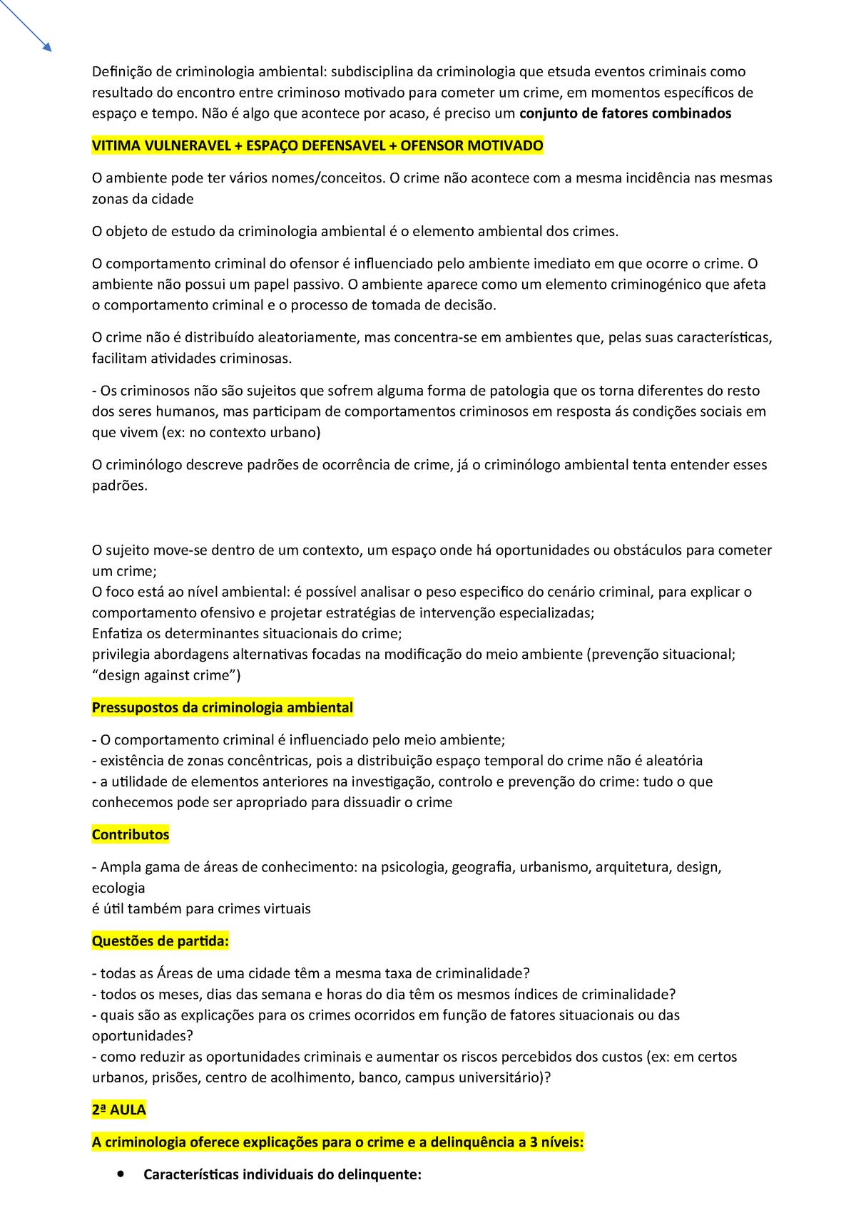 9698ec004 Definição de criminologia ambiental - Criminologia Ambiental - StuDocu