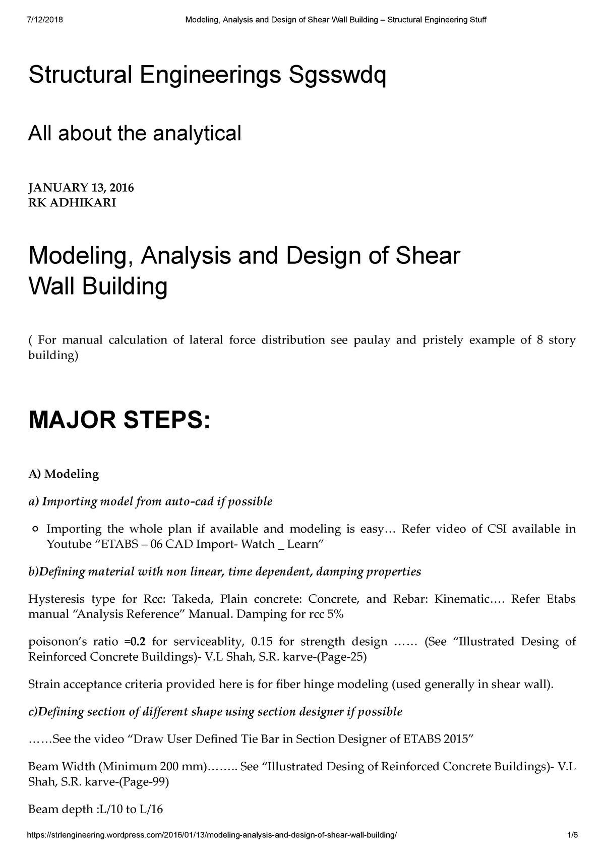 Analysis - Etabssds - CVNG 301: Structural Analysis - StuDocu