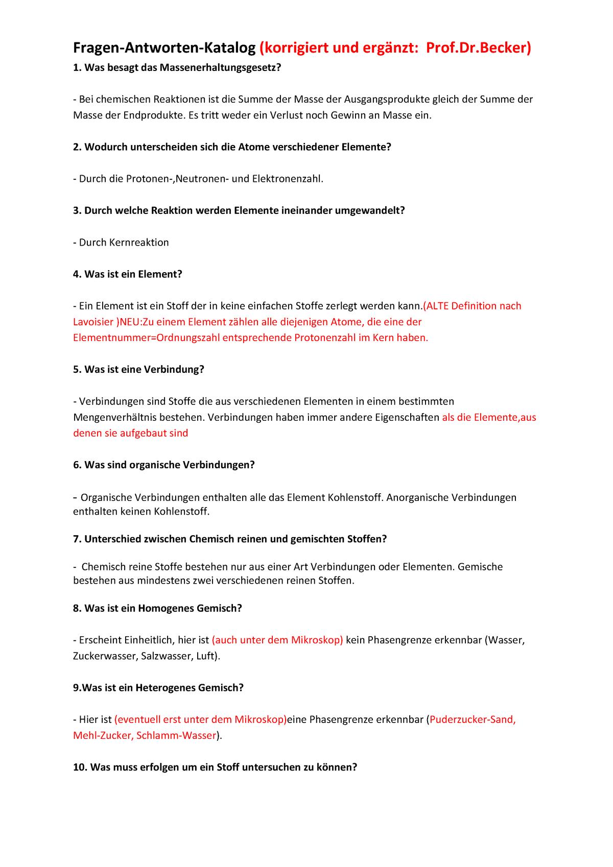 Becker Chemie Faq Zusammenfassung Chemie 101130 Studocu