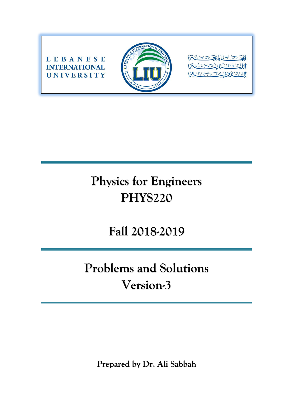 PHYS220 Booklet Problems and Solution version-3 Fall 2018-2019 - StuDocu