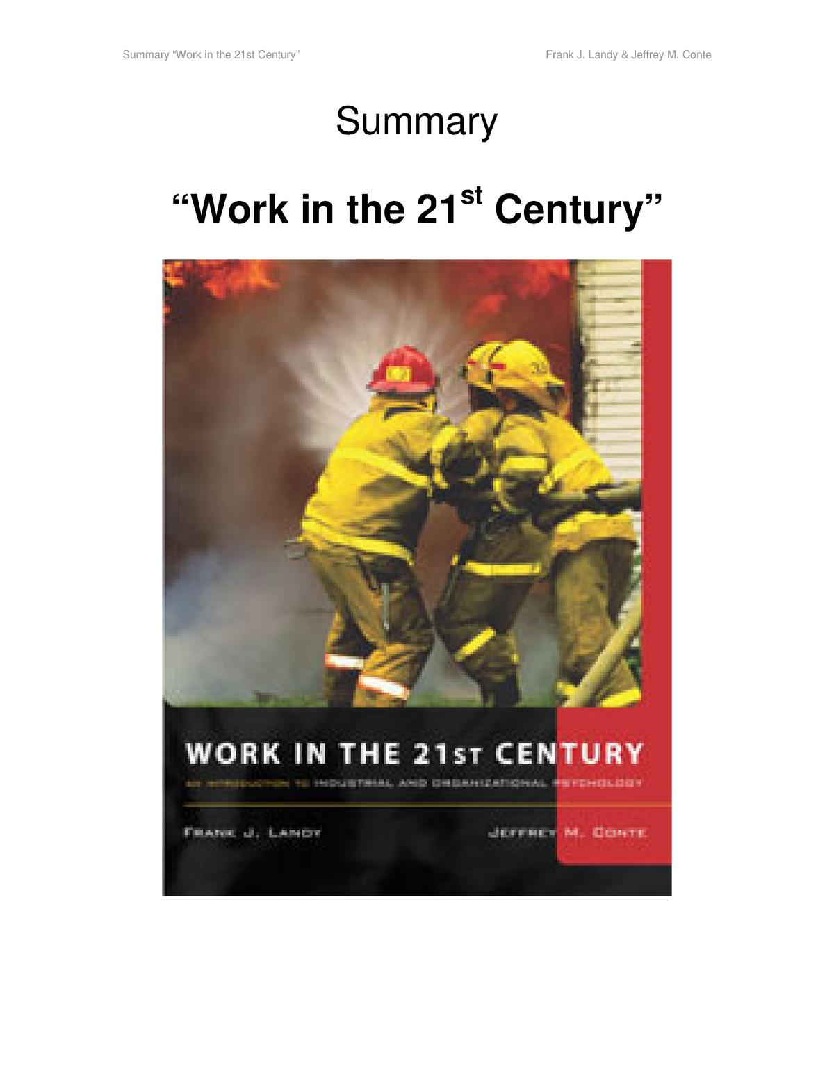 Summary Work in the 21st century, Frank J  Landy & Jeffrey - StuDocu