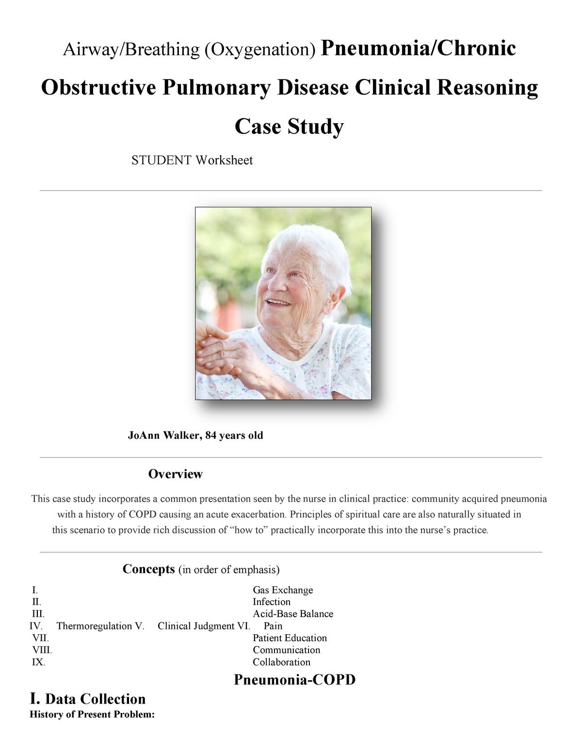 Pneumonia Copd Case Study Solutions Studocu