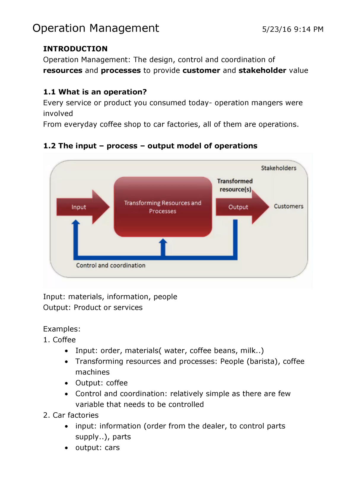 Operation Management Study Material Notes - IB120 - Warwick