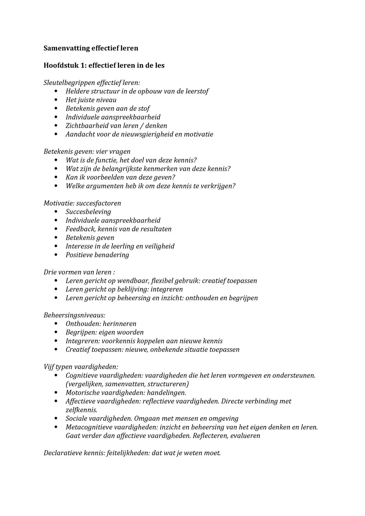Samenvatting Effectief Leren Onderwijskunde Owk1