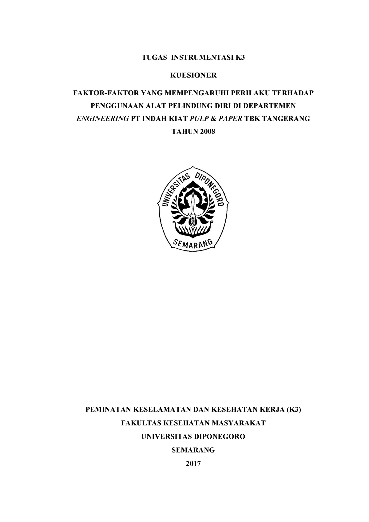 Kuesioner Kuantitatif Penggunaan Apd Studocu