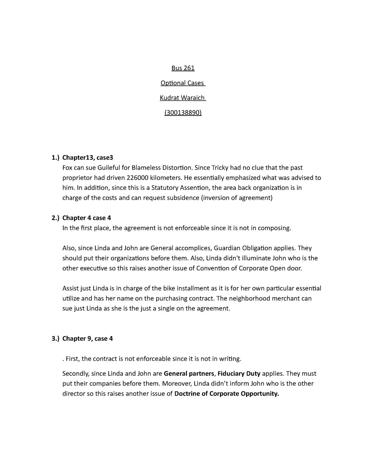 Law cases optional - BUS 261 Business Law - UFV - StuDocu