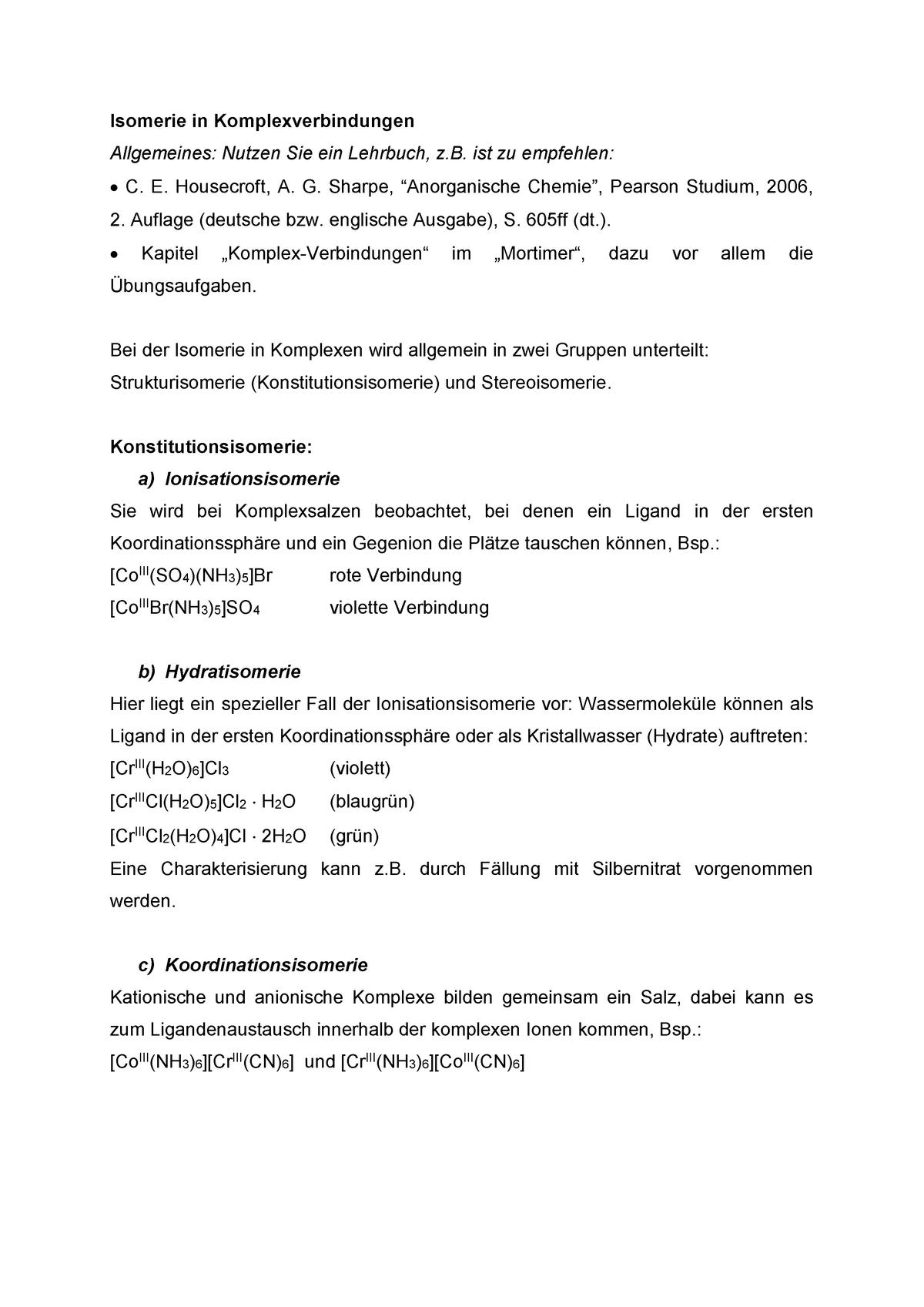 übungen Zu Isomerie In Der Koordinationschemie Ss18 T1db