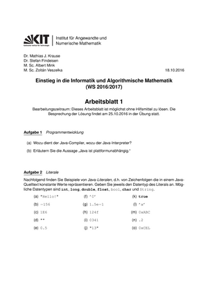 Arbeitsblatt 01 - Wintersemester - 2129906: Einstieg in die ...