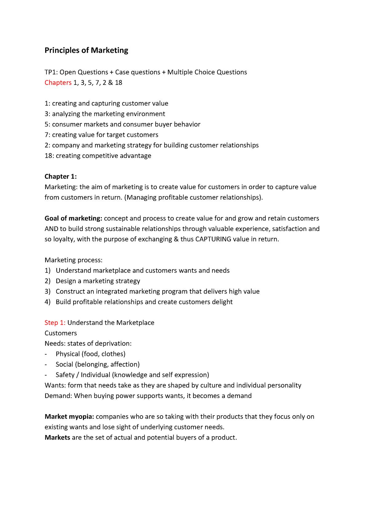 Summary Principles Of Marketing, 1, 3, 5, 7, 2 & 18rn - StudeerSnel nl