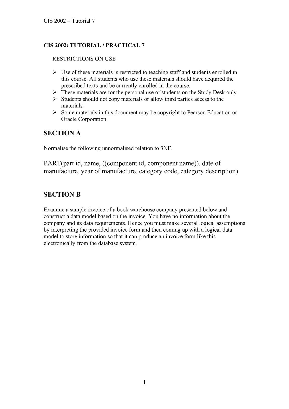 Tut7 v2 - Tutorial 7 - CIS2002: Database Design and Implementation