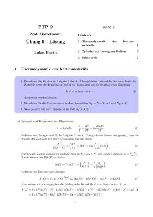 Übungen - Aufgaben mit Lösungen zu Thermodynamik des Kettenmoleküls ...