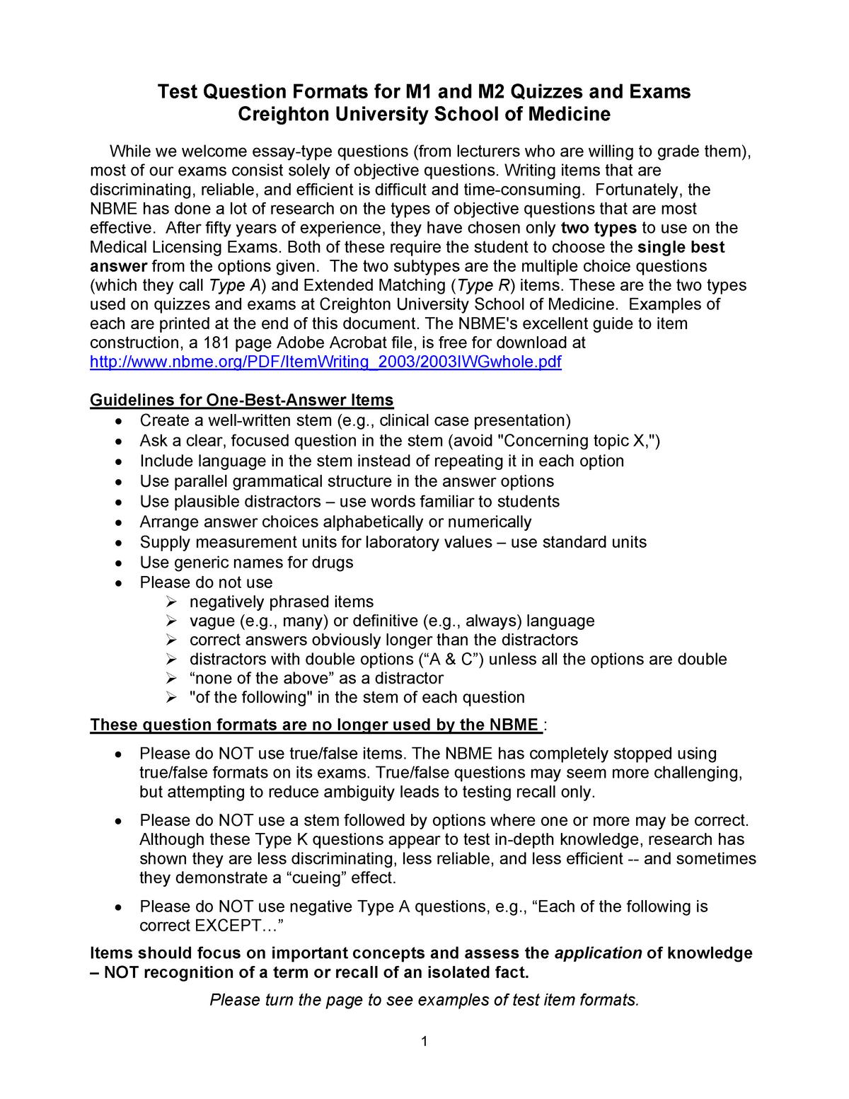 Test Question Formats M 1M2 - MED 471: Emergency Medicine - StuDocu