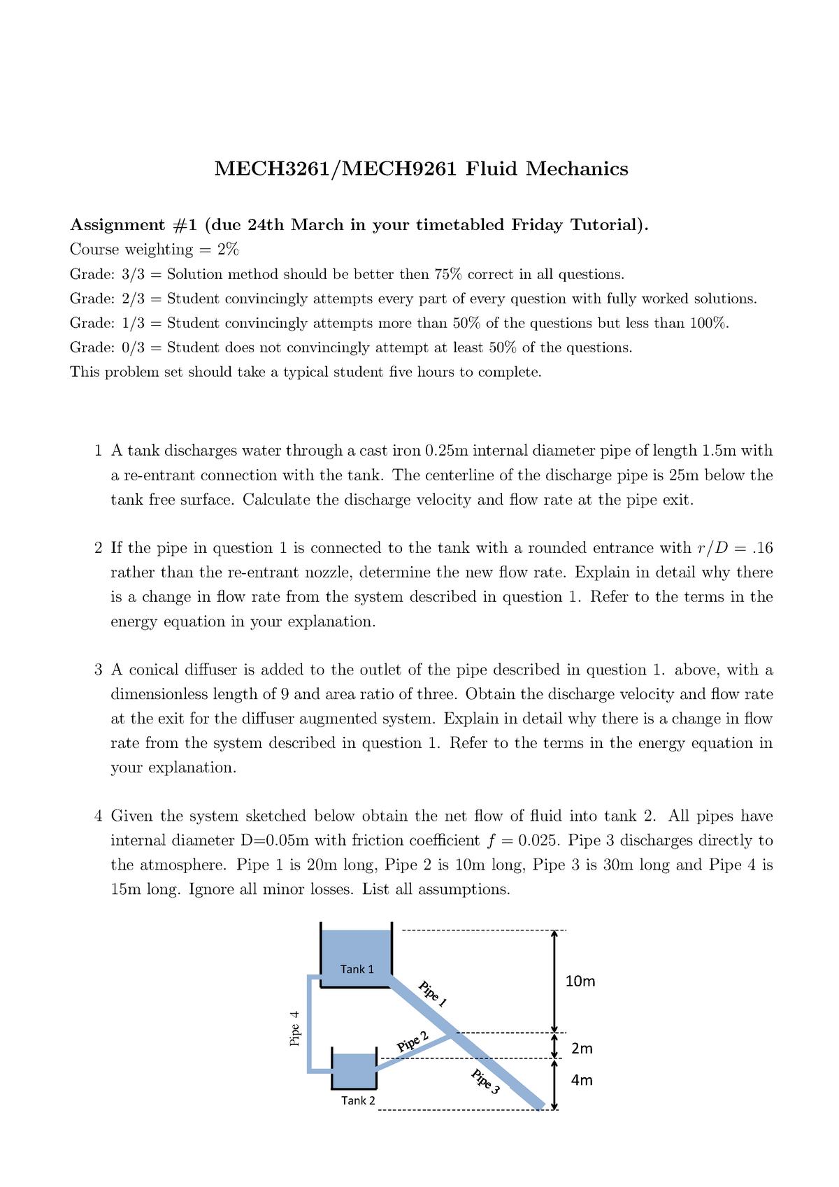 Assg1 - Assignment for year 2017 - MECH3261: Fluid Mechanics