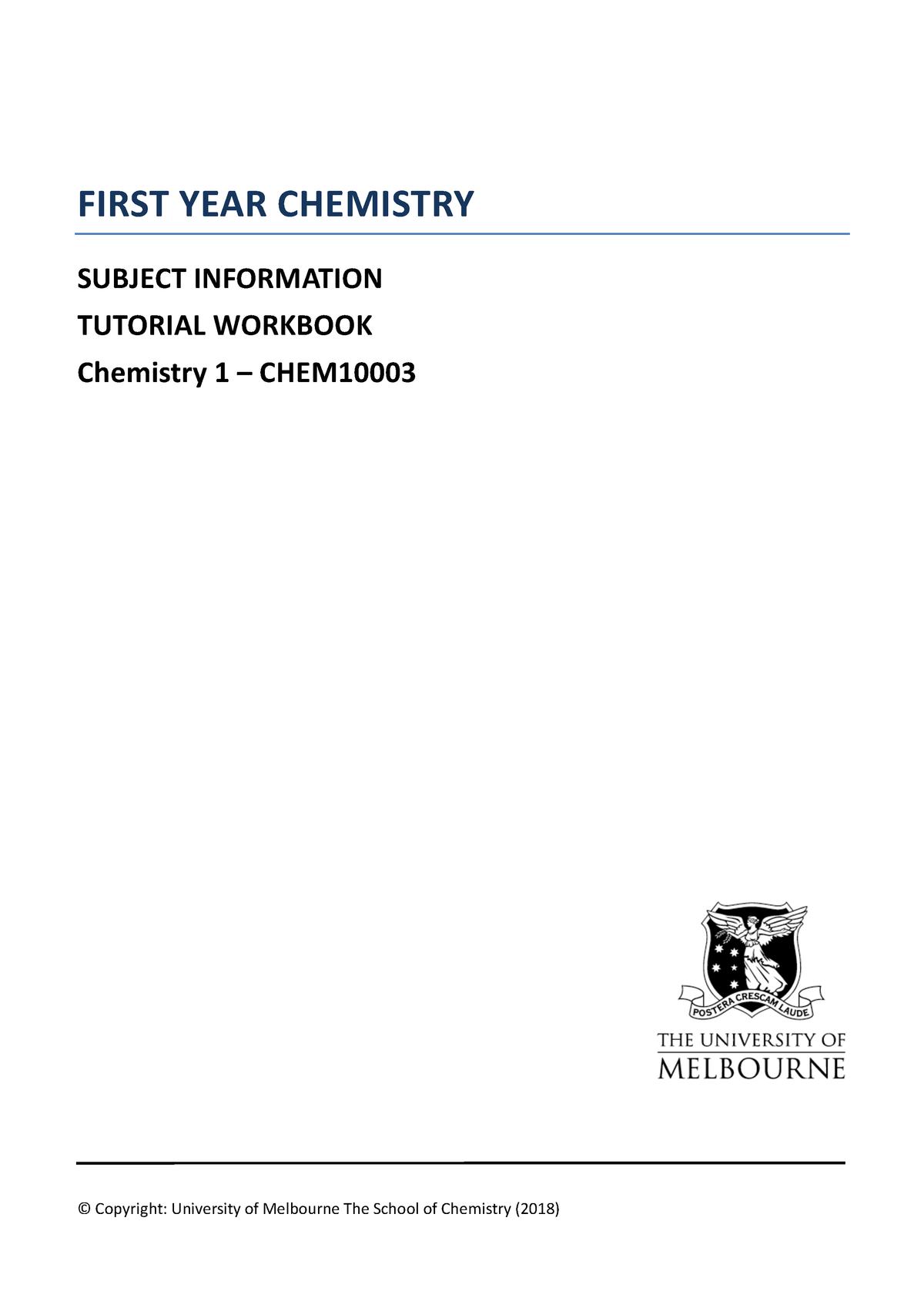 CHEM10003 2018 Tut Workbook - B-SCI: Bachelor of Science - StuDocu