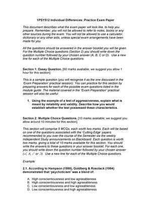 Fahrenheit 451 Essay Thesis  Argumentative Essay Topics High School also Mental Health Essay Exam   Psy Individual Differences  Studocu Examples Of Persuasive Essays For High School