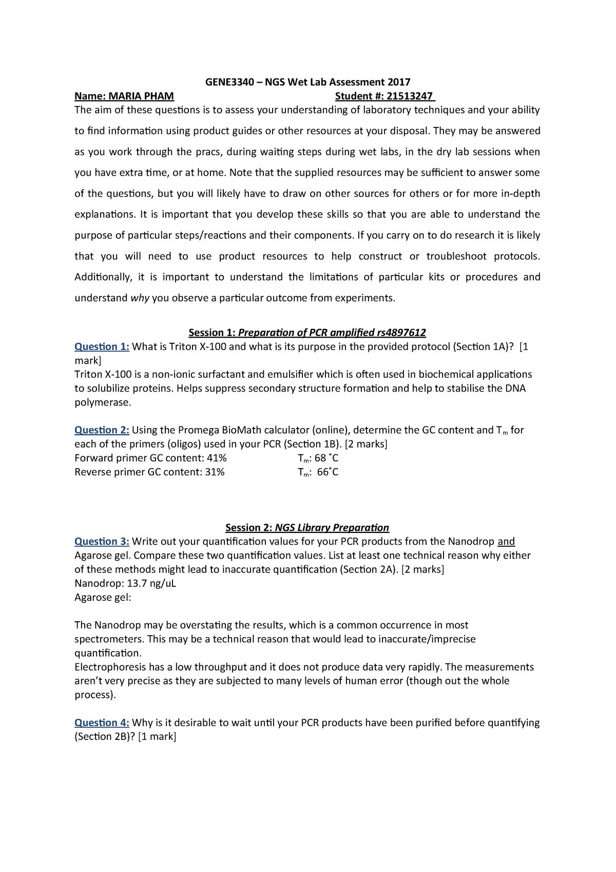GENE3340 NGS wet assessment 2017 JC v4 - PHIL1002 - UQ - StuDocu