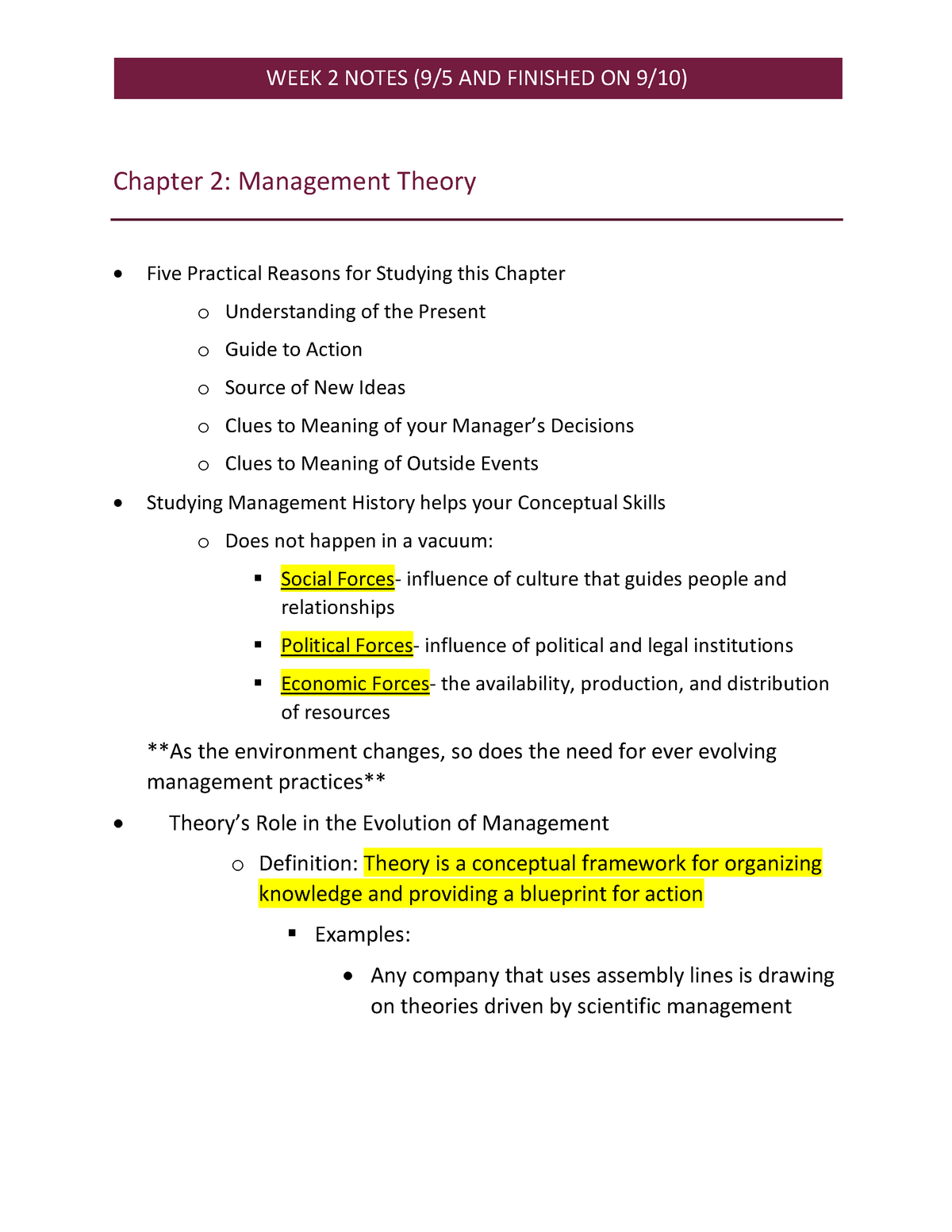 MAN3025- Week 2 Notes - MAN 3025 Prins Of Management - StuDocu