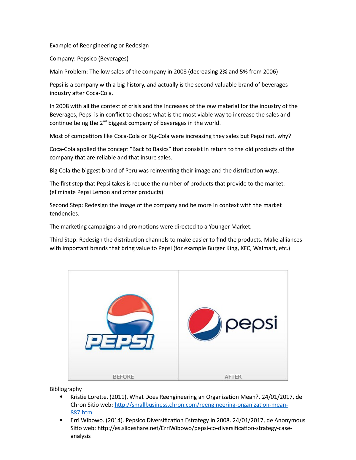 Example of Reengineering or Redesign Pepsi - - UP - StuDocu