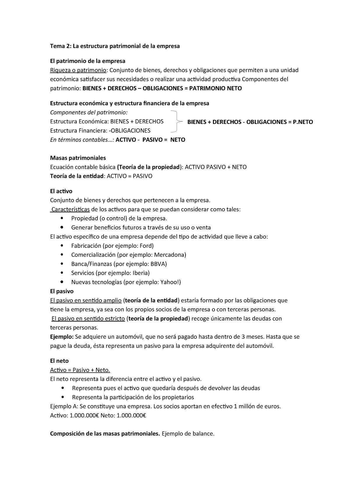 Tema 2 La Estructura Patrimonial De La Empresa 202 13638