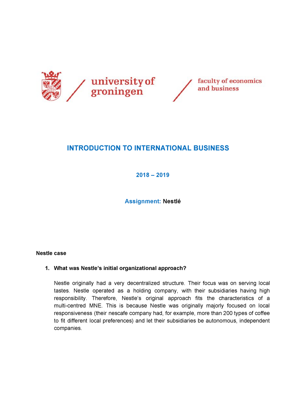 Nestle case - Introduction to International Business - RUG