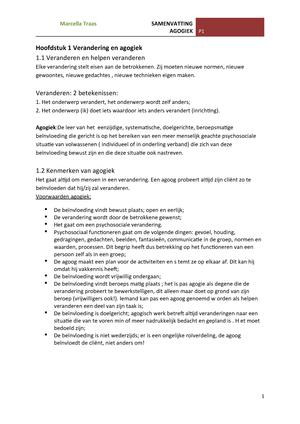 Samenvatting Voor De Verandering 07 Mar 2015 Studeersnelnl