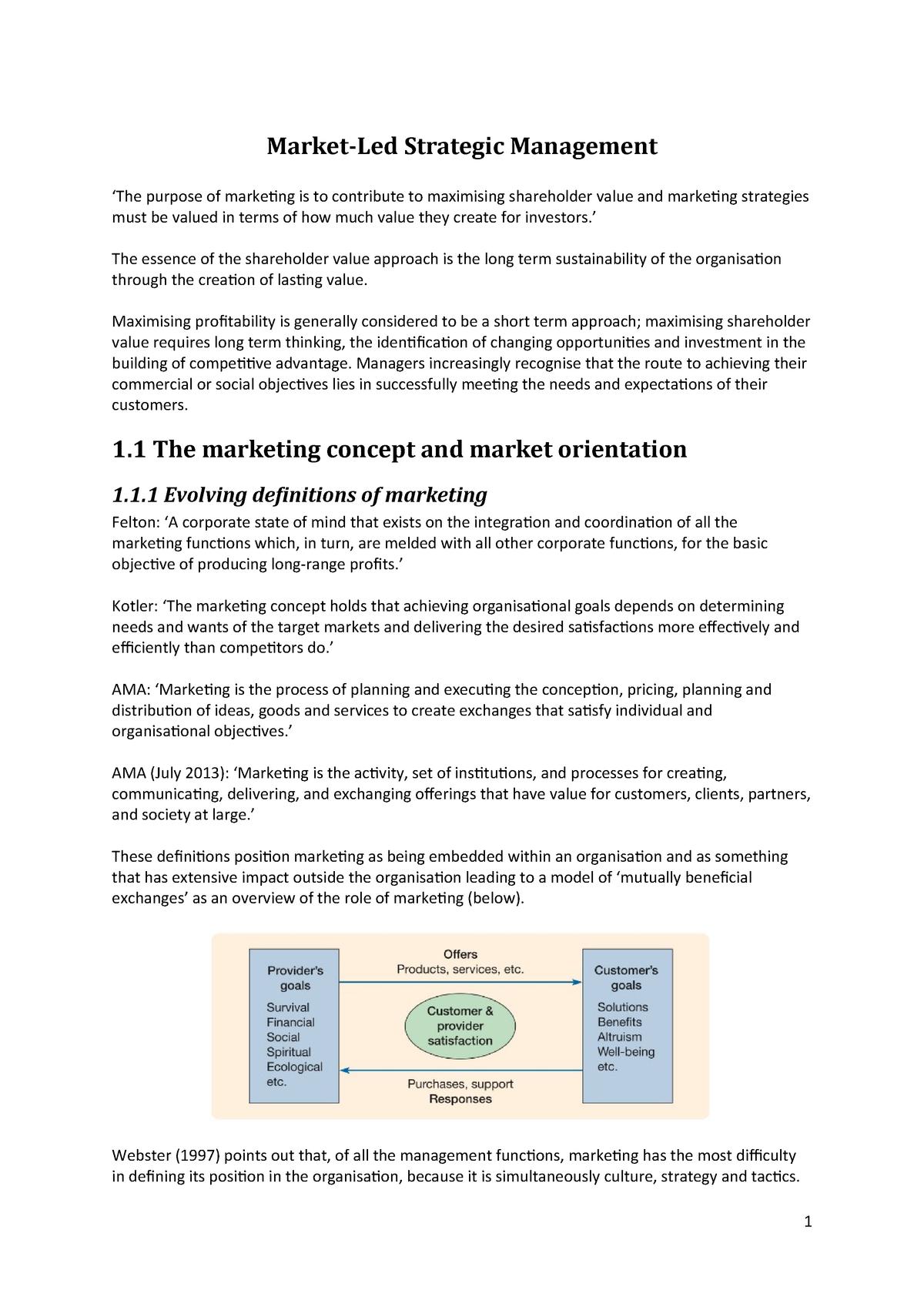 Chapter 1 - Market led Strategic Management - - Aston - StuDocu