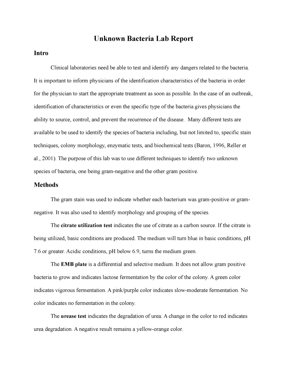Unknown Bacteria Lab Report- Microbio - BIOL 455 - K-State