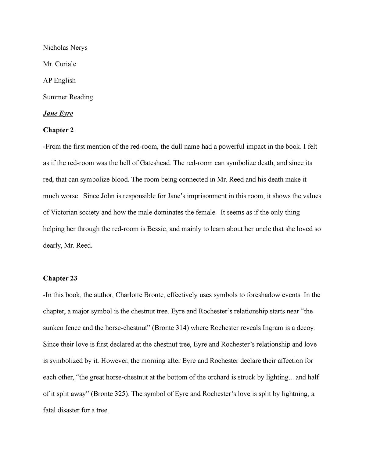 Jane Eyre - Summer Assignment - ENG 2150: Writing II - StuDocu