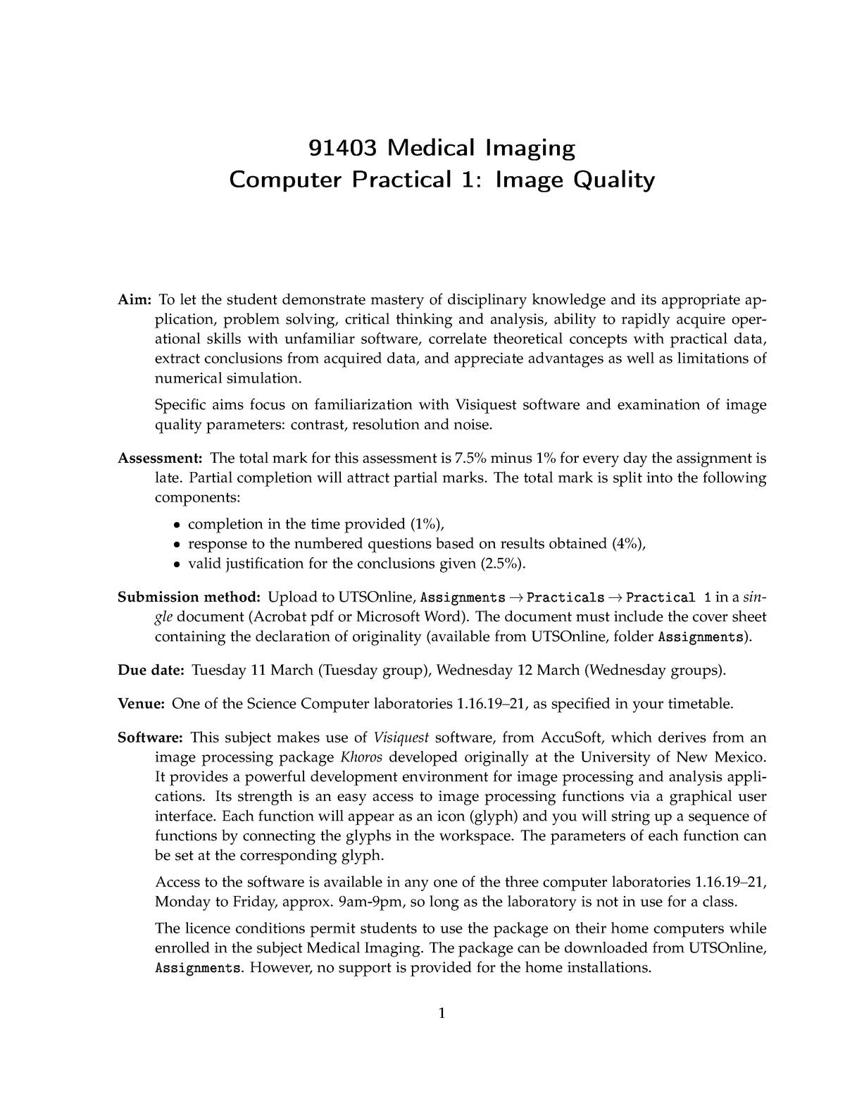 Image Quality practical 1 rulling - 091403 : Medical Imaging - StuDocu