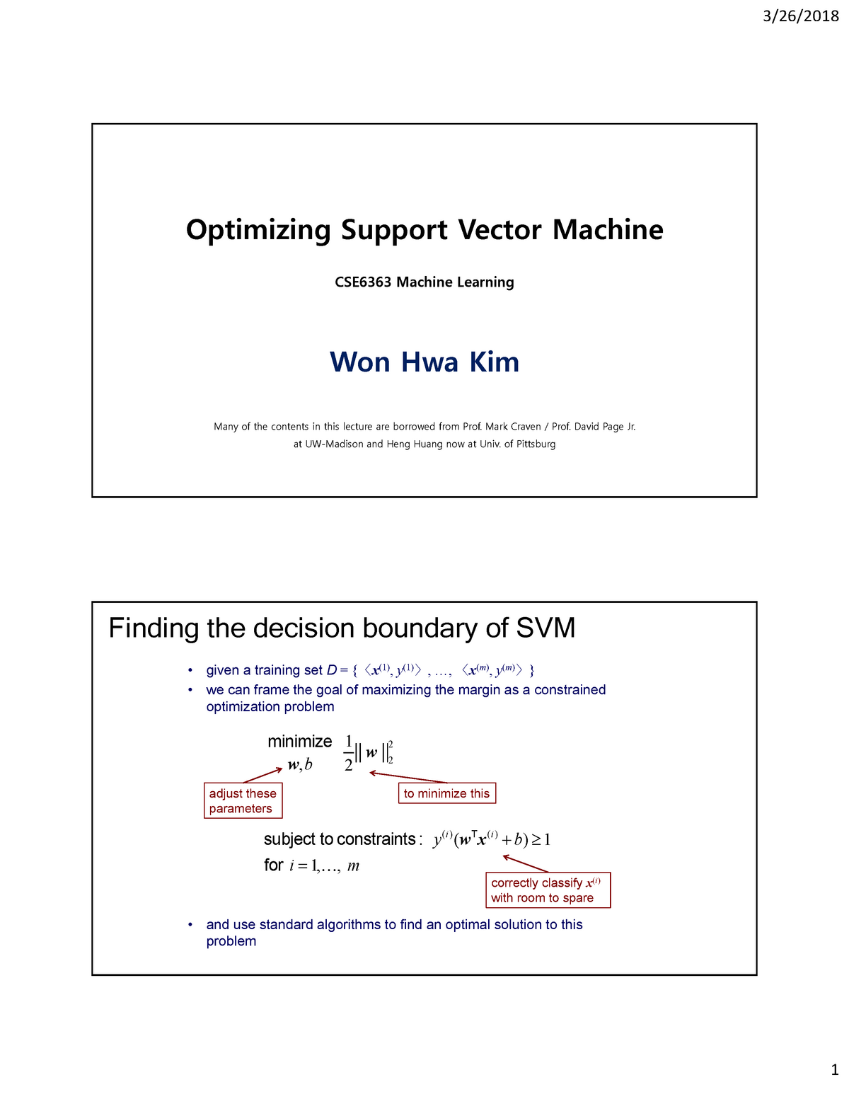 11 SVM optimization CSE-6363 - CSE 6364: MACHINE LEARNING - StuDocu