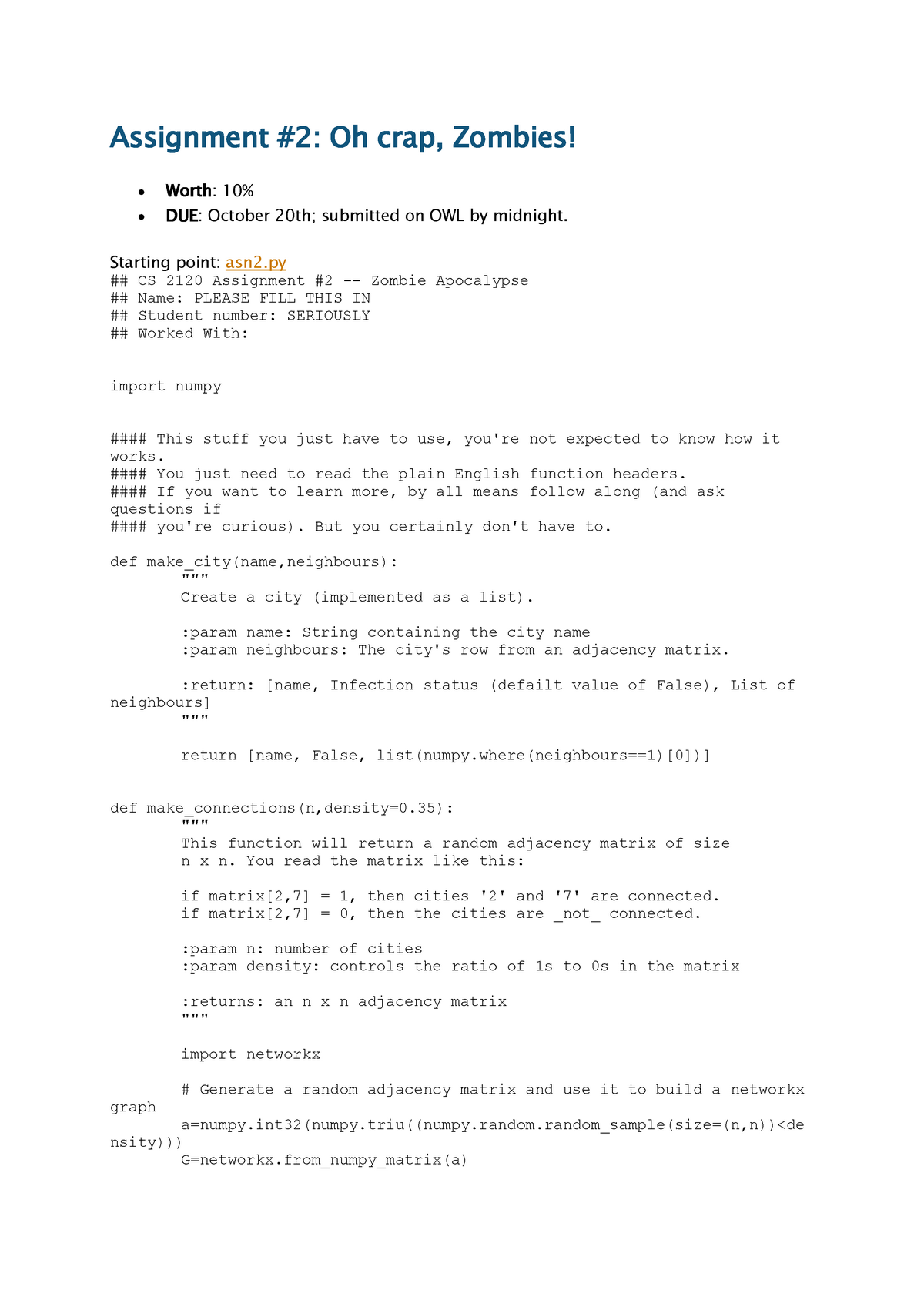 Seminar assignments - Assignment #2 Oh crap, Zombies - CS2120a