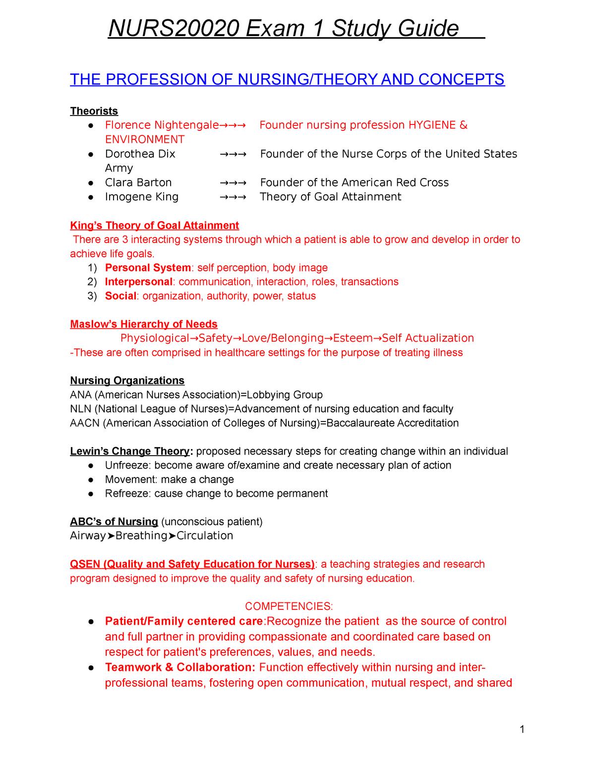 Foundations of Assessment Exam 1 Study Guide NURS 20020