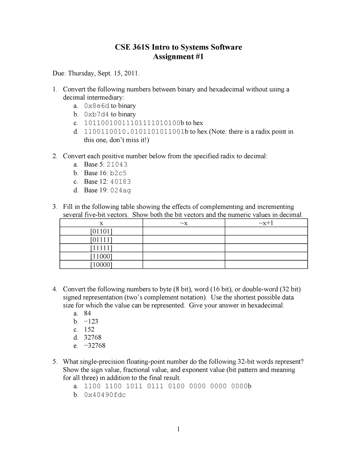 CSE361S 2011-2012 Assignment 1 - E81 361S: Introduction To