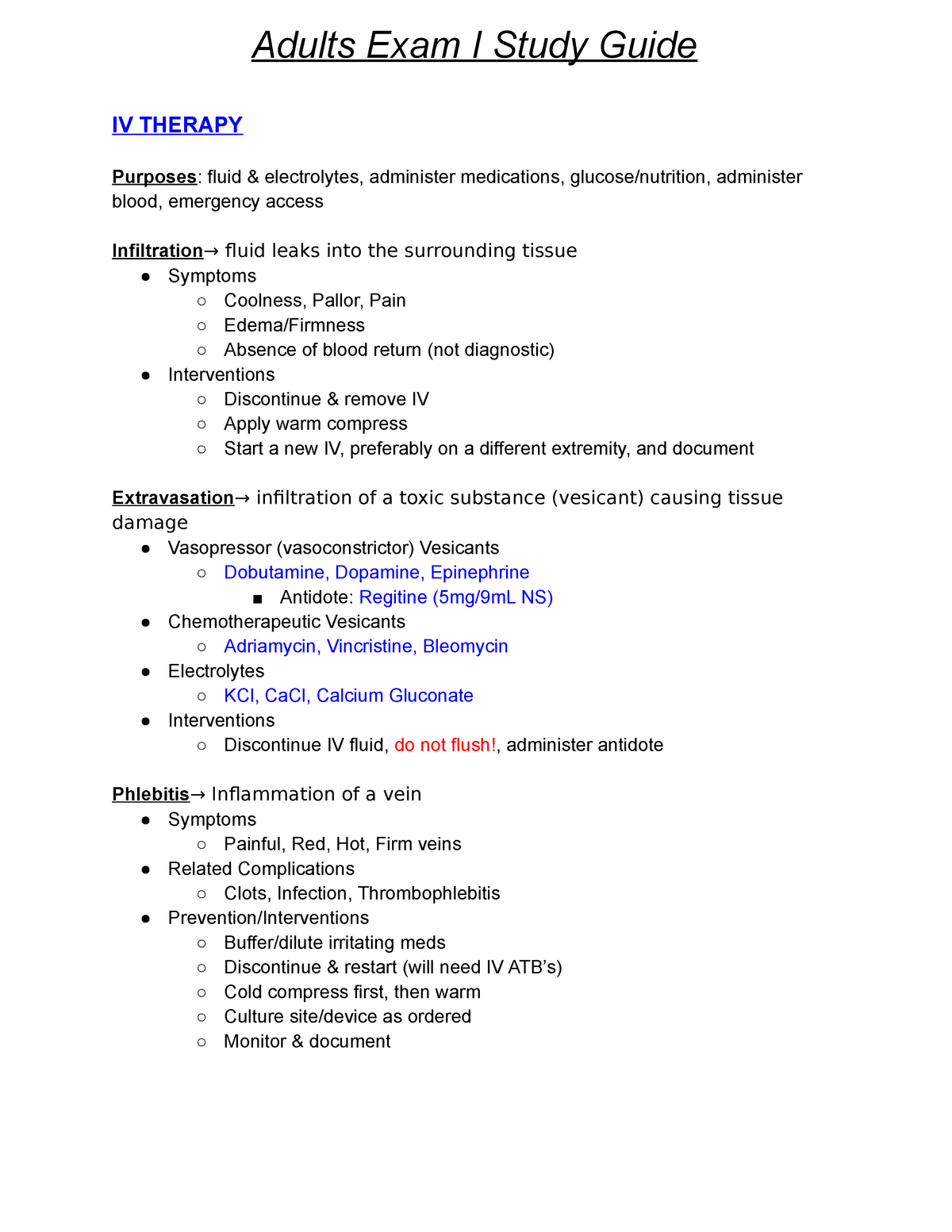 iv therapy exam study guide