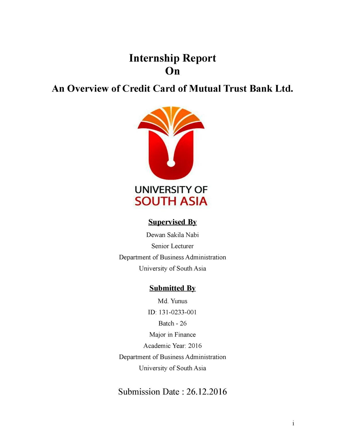 Internship Report - BBA Finance 131 - StuDocu