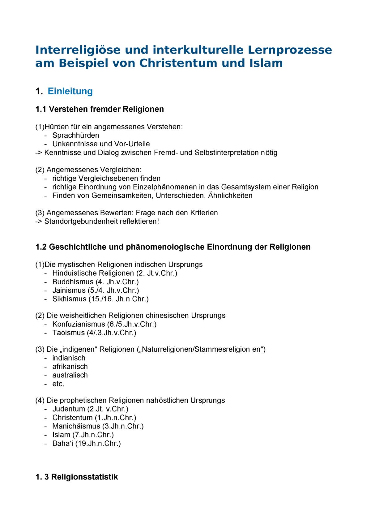 Interreligiöse und interkulturelle Lernprozesse - GWS - StuDocu