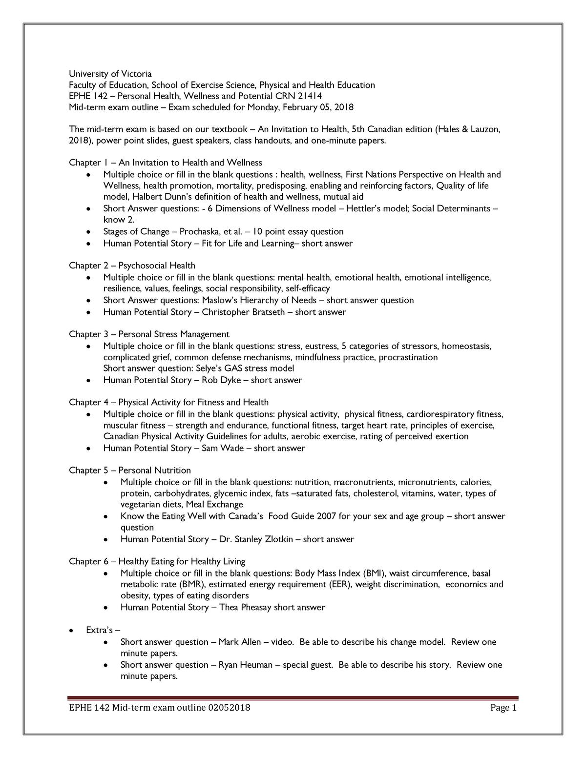 EPHE142 - Mid-term Exam Outline - UVic - StuDocu