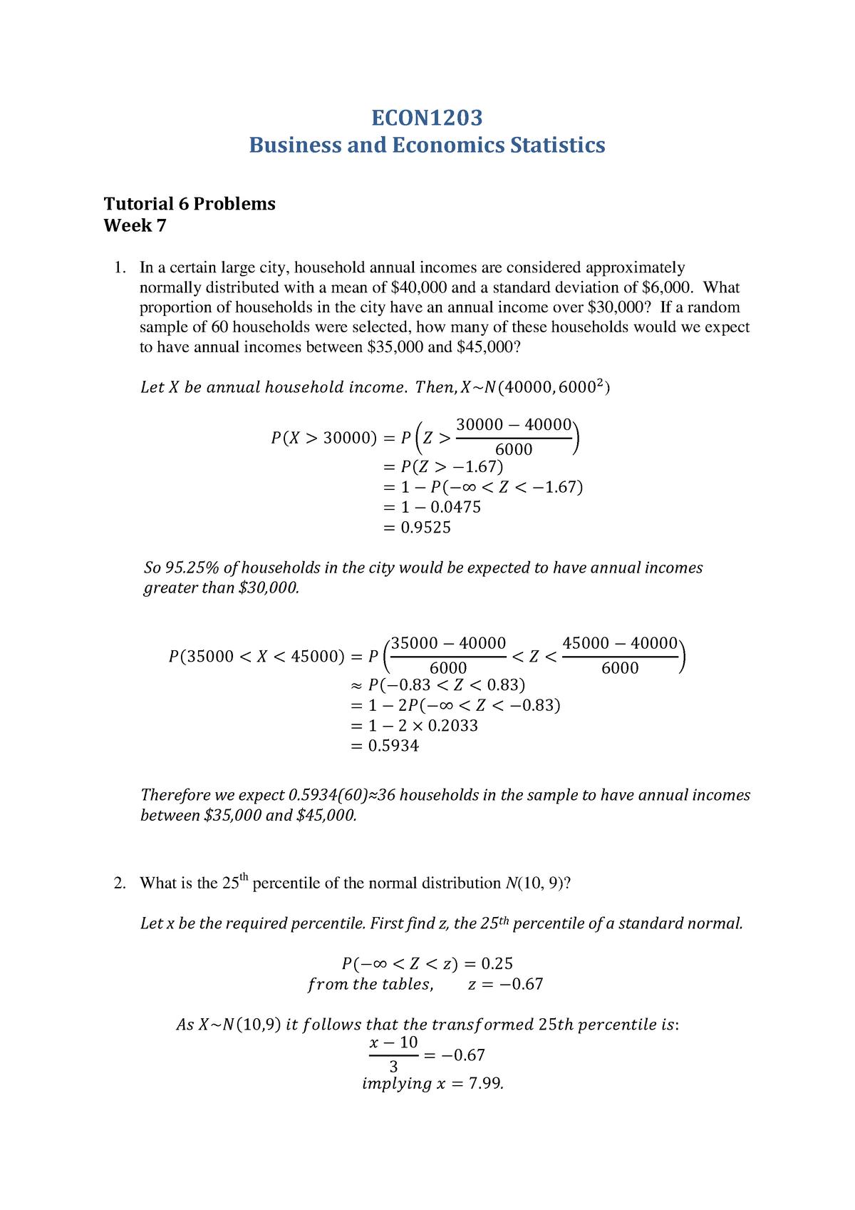 Tutorial 6 (Week 7) solutions - ECON1203 - UNSW - StuDocu
