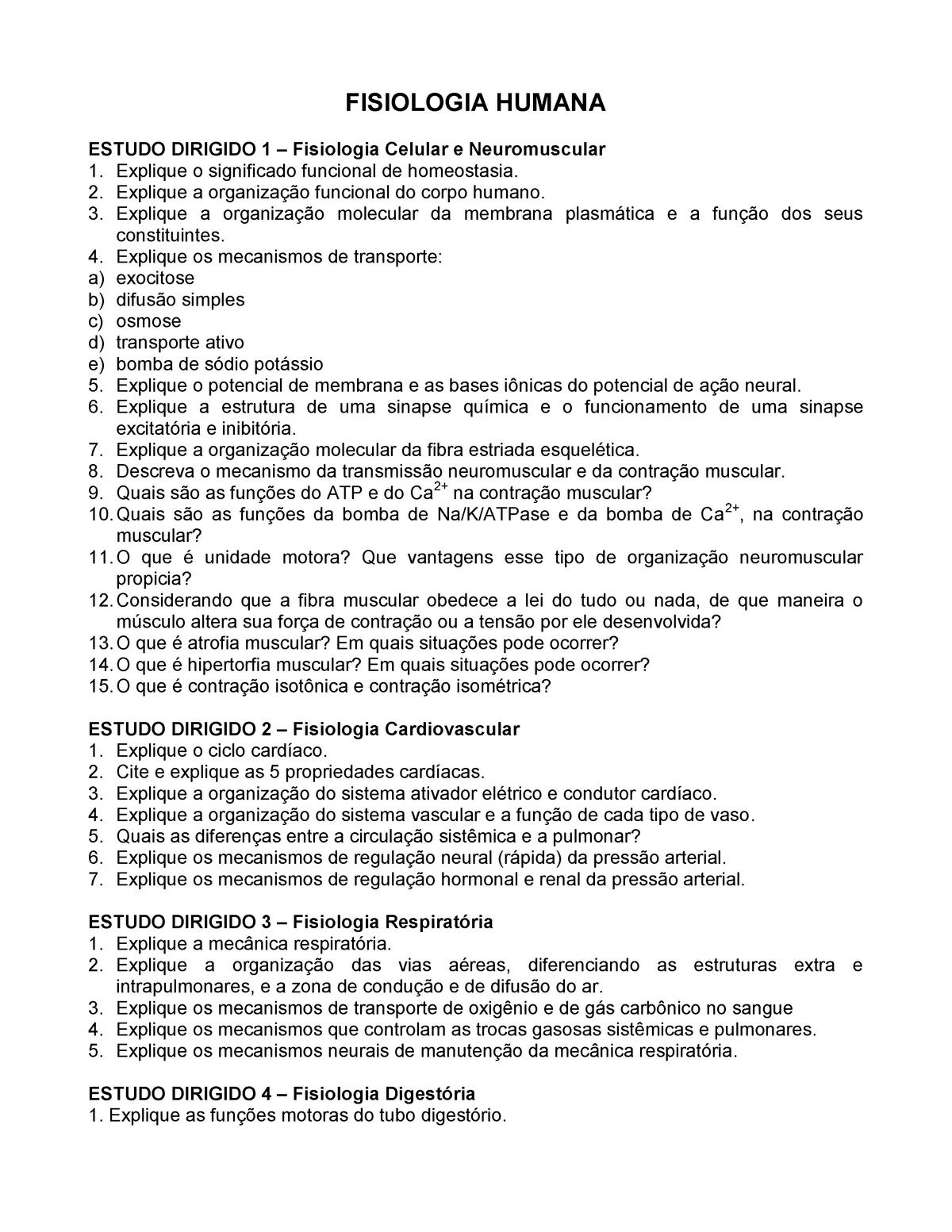 Questionario Fisiologia Unimep Studocu