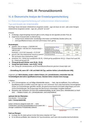 Zusammenfassung Bwl2 Personalökonomik Betriebswirtschaftslehre Ii